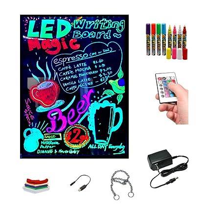 Pizarra LED luminosa 40x60cm, RGB, acrílica + PACK 8 ROTULADORES, ENTREGA 1-3 DÍAS