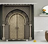 Moroccan Decor Shower Curtain Set By Ambesonne, Aged Gate Geometric Pattern Doorway Design Entrance Architectural Oriental Style , Bathroom Accessories, 75 Inches Long