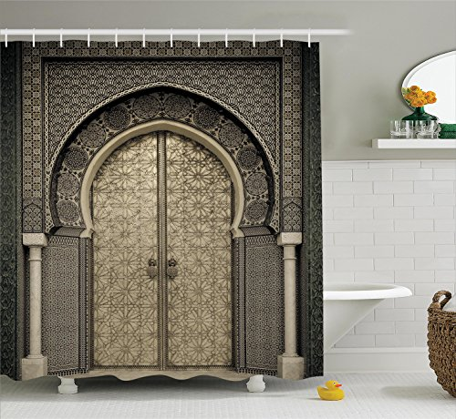 Rustic Shower Curtain Moroccan Decor by Ambesonne, Aged Gate Geometric Pattern Doorway Tile Design Entrance Architectural Oriental Style, Fabric Bathroom Shower Curtain Set with Hooks, Gray (Arabian Party Decorations)