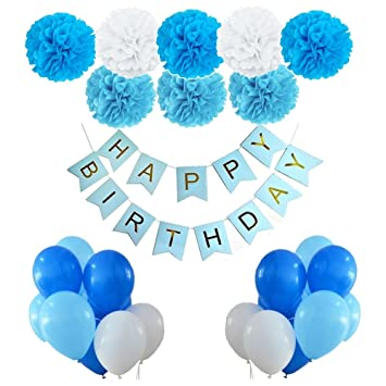 Party Port Blue Happy Birthday Decorations Bunting Banner With Shiny Gold Letters 9 Pcs Tissue