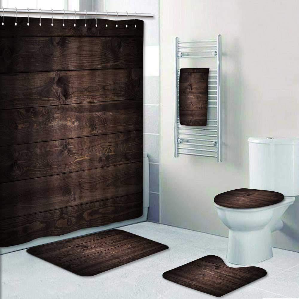 Philip-home 5 Piece Banded Shower Curtain Set Dark Wood Planks Pattern Adornment
