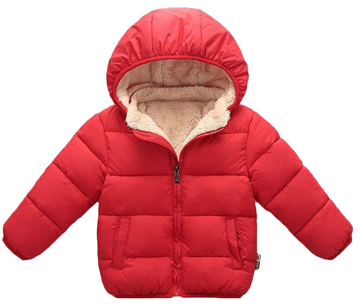 Pandapang Boys Zip Quilted Down Fleece Faux Fur Lined Hoody Thicken Jacket Parka Coat