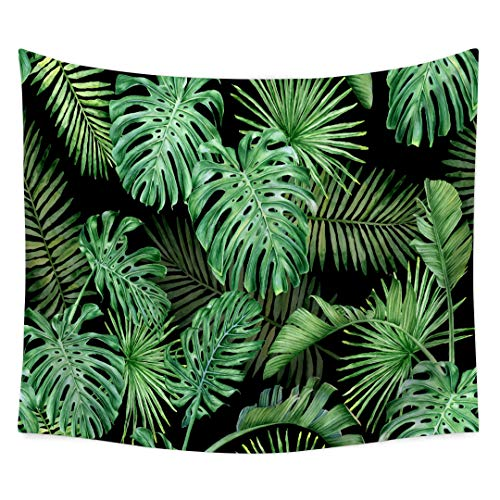 (QEES Tropical Palm Leaves Tapestry Green Leaf Pattern Decor Woven Couch Bedroom Living Room Dorm Wall Hanging Indian Home Hippie Tapestry GT06-Green 6)