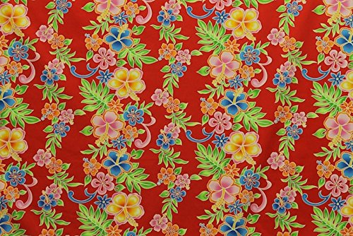 Hawaiian Leis Border 100 % Cotton Fabric Print Sold By the Yard (Hawaiian Print Fabric)