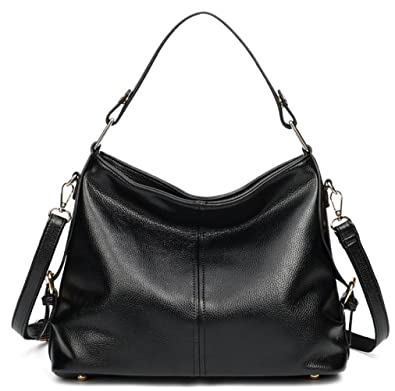 Women s Leather Hobo Handbag from Covelin, Durable Shoulder Bag Retro Purse  Black 6704a96dc9