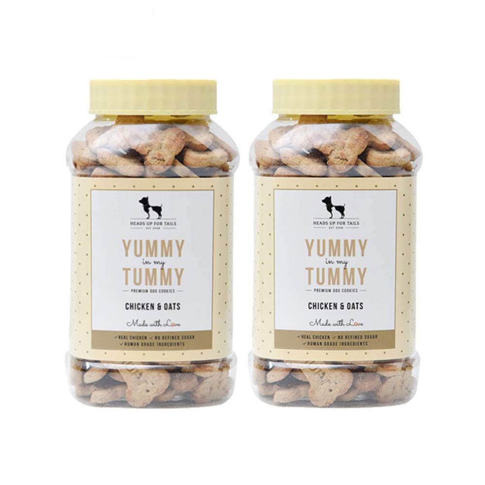 Heads Up For Tails Dog Biscuits Non Veg Treats Cookies (Pack of 2-320 Gm Each, Chicken and Oats)