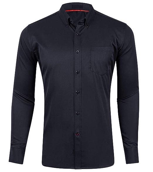 Amazon.com: Musen Camisa de vestir para hombre, corte ...