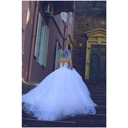 DIDIDD Vestido de Novia Nupcial de Manga Larga Vestido de Novia de Color Blanco,Blanco