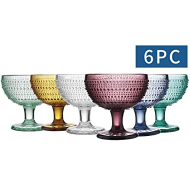 MESHA Beaded Tumblers Colored Water Glasses Dewdrop Heavy Base Glasses Set, Drinking Glasses, Set of 6 (9.7)