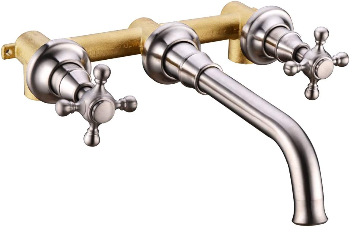TRUSTMI Bathroom Faucet 2 Cross Handle Wall-mounted Hot and Cold Lavatory Basin Sink Vessel Rough-In Valve Include, Brushed Nickel
