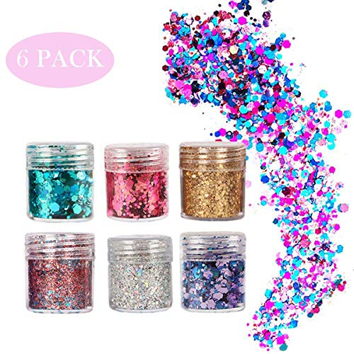 Face Glitter - 6 PCS Body Glitter Chunky Body Hair Nails Glitter Decoration For Halloween Makeup Party Graduation Ceremony And DIY Non-toxic & Convenient Adults]()
