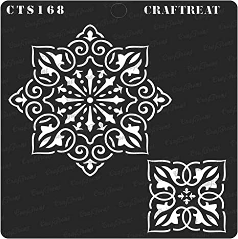 Tile CrafTreat Stencil Floor Crafting DIY Albums Wall Tree Rings Home Decor Scrapbook Reusable Painting Template for Journal Wood 6x6 inches Fabric Decoration and Printing on Paper