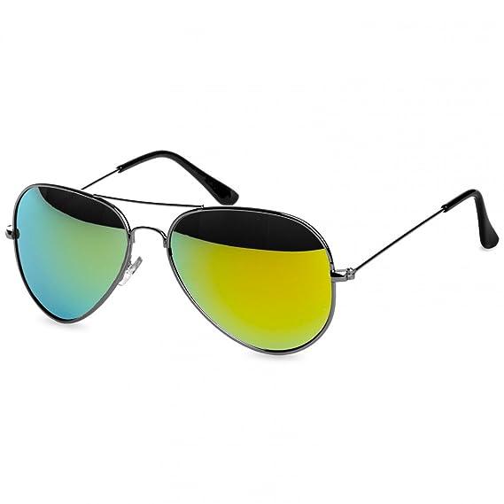CASPAR SG033 Damen Large Metal Aviator Sonnenbrille, Farbe:silber / grün gold verspiegelt