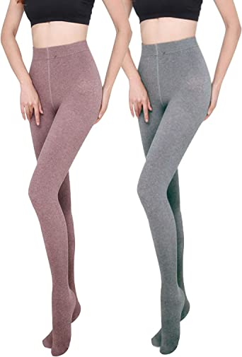 Yulaixuan para mujer 2 pares de pantalones de algodón opaco cálido ...