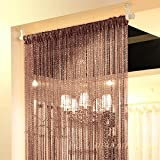 #2: Topixdeals 37 X 76 Inch Rare Flat Silver Ribbon Door String Curtain Thread Fringe Window Panel Room Divider Cute Strip Tassel Party Events (Dark-brown)