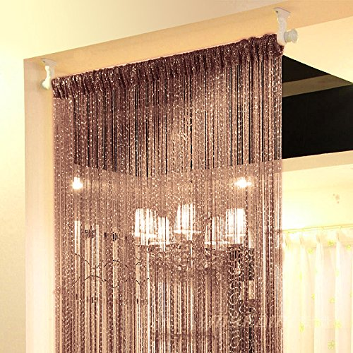 Topixdeals Rare Flat Silver Ribbon Door String Curtain Thread Fringe Window Panel Room Divider Cute Strip Tassel Party Events (1 Pack, Dark-Brown) (Window Treatments Bead)