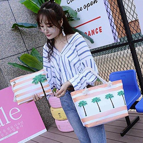 Embrayage Sac Main Pcs Shopping Demiawaking Composite À Sling 2 Casual Ensemble Cabas Femme Plage Bandoulière Toile Cocotiers qwFOOE