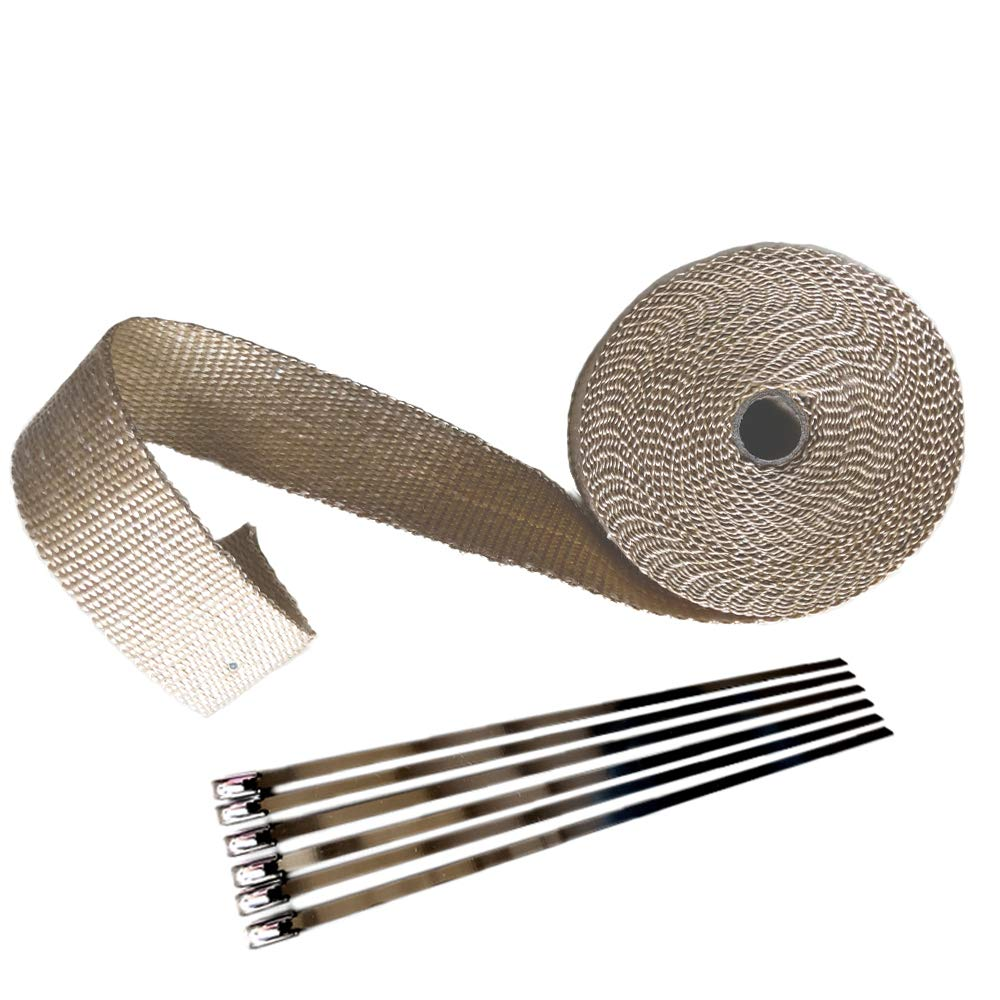 1 x 50 Silver Aluminum Foil Covered Exhaust Insulating Heat Wrap Roll Oil Resistance Waterproof for Motorcycle Fiberglass Heat Shield Tape with Stainless Ties From Manufacturer