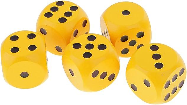 MagiDeal Set de 5 Piezas 3cm D6 Seis Lados Dados de Madera Punteados para Juguete Juegos de Mesa - Amarillo: Amazon.es: Juguetes y juegos
