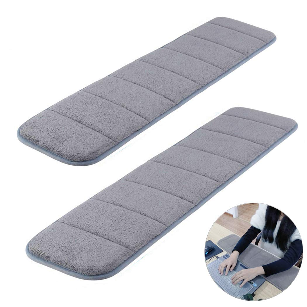 2Pcs Computer Wrist Elbow Pad, Creatiee Upgraded Wrist Rest Arm Pad(Soft, Long-sized), Keyboard Wrist Elbow Support Mat for Office Desktop Working Gaming - Less Elbow Pain (7.9 x 31.5 inch) (Gray) by CREATIEE-PRO