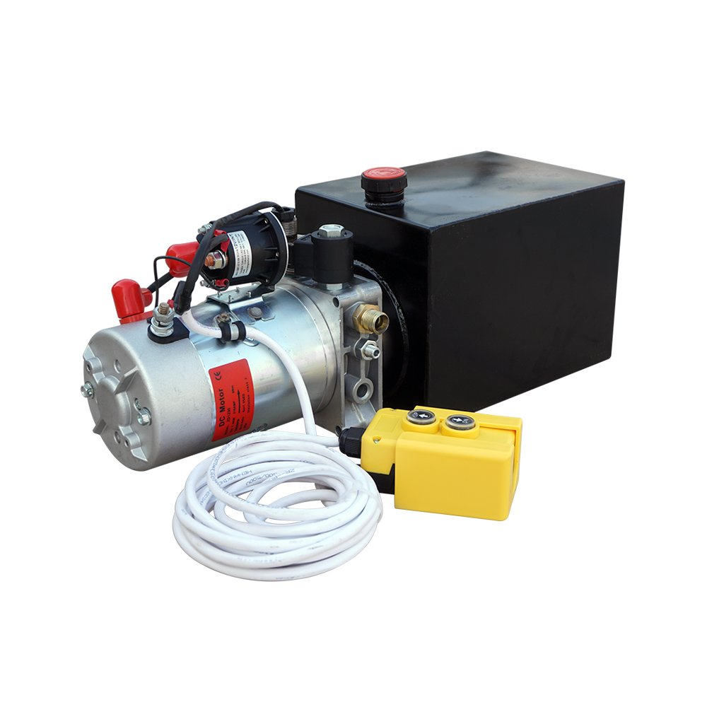 Fisters Durable High Quality Electric Metal Reservoir 12V Hydraulic Pump Power Supply Unit Pack Single Acting Remotely Controlled Dump Trailer Fit for Lift Unloading(6 Quart Metal Tank)