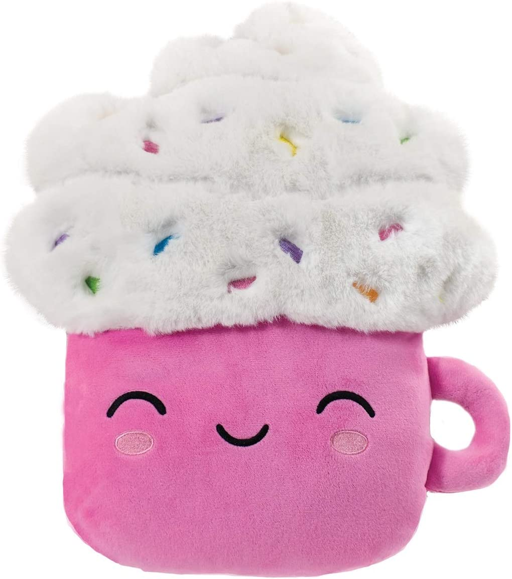 iscream Kawaii Cutie Hot Cocoa Embroidered Accent 12.25 x 15 Furry Pillow