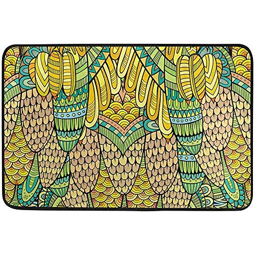 (Starogs Hand Drawn Abstract Golden Peacock Pattern Doormat, Entry Way Indoor Outdoor Door Rug with Non Slip Backing, (23.6 by 15.7-Inch))