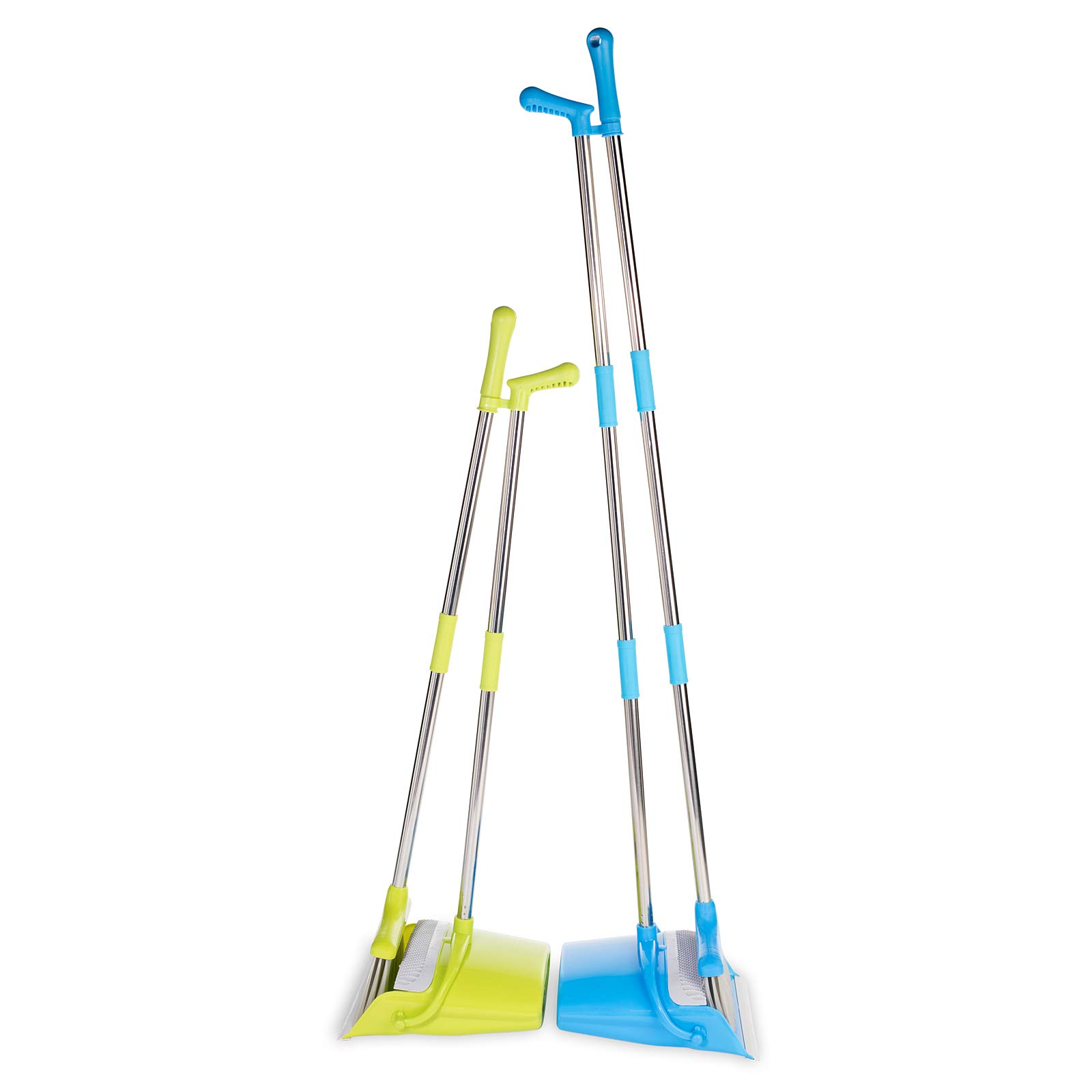 BristleComb Broom and Dustpan Set - Variable Handle Length Broom and Dustpan - Includes: Hand Brush and Dustpan Combo - Lightweight and Upright Stand for Cleaning Your Kitchen, Home, and Lobby (Green) by JFB Home Products (Image #6)