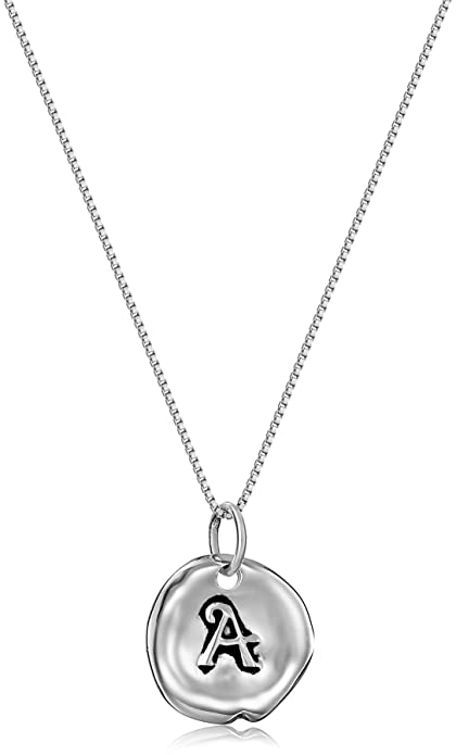 Sterling silver letter a circle initial pendant necklace 18 sterling silver letter a circle initial pendant necklace 18quot mozeypictures Choice Image