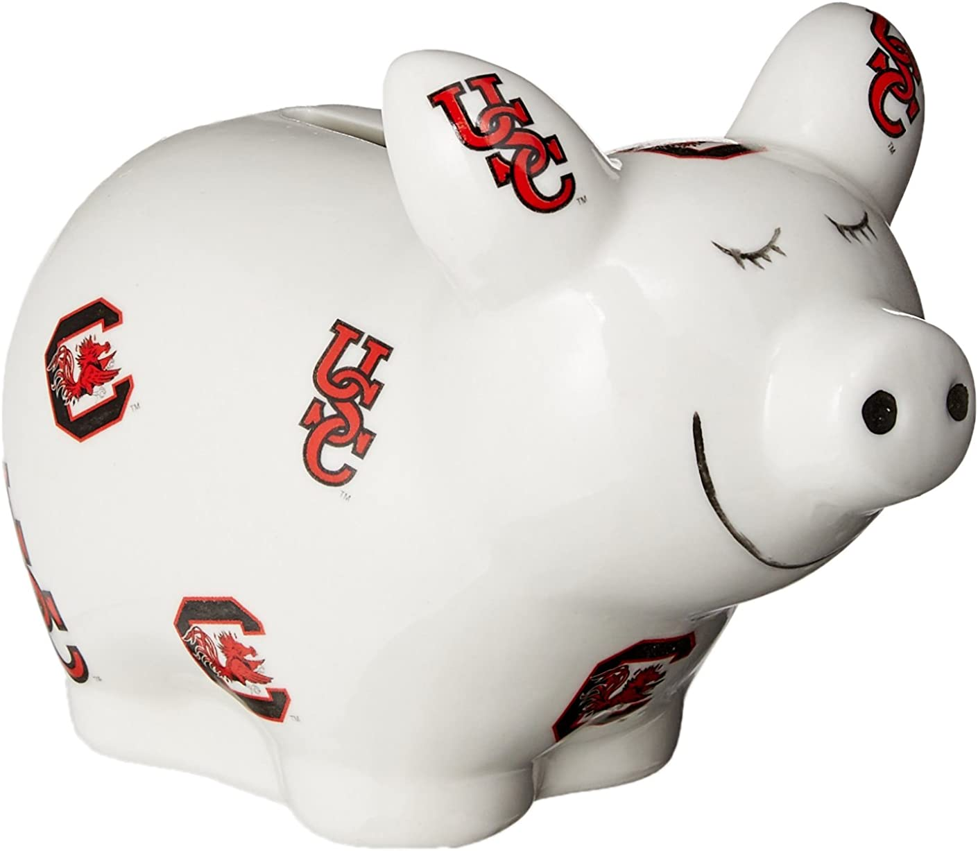 One Size Multicolor Game Day Outfitters NCAA South Carolina Gamecocks Logo All Over Piggy Bank