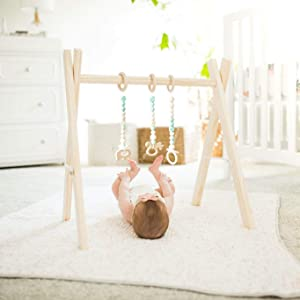 funny supply Wooden Play Gym with 3 Gym Toys Foldable Baby Play Gym Frame Activity Center Hanging Bar Newborn Gift Mint
