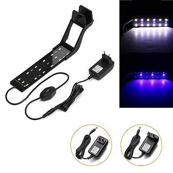 HTAIYN 6W 23cm Lámpara de Tanque de Peces de Acuario Ajustable, Azul y Blanca, LED Super Slim Clip en la luz Popular (Color : EU Plug): Amazon.es: Hogar