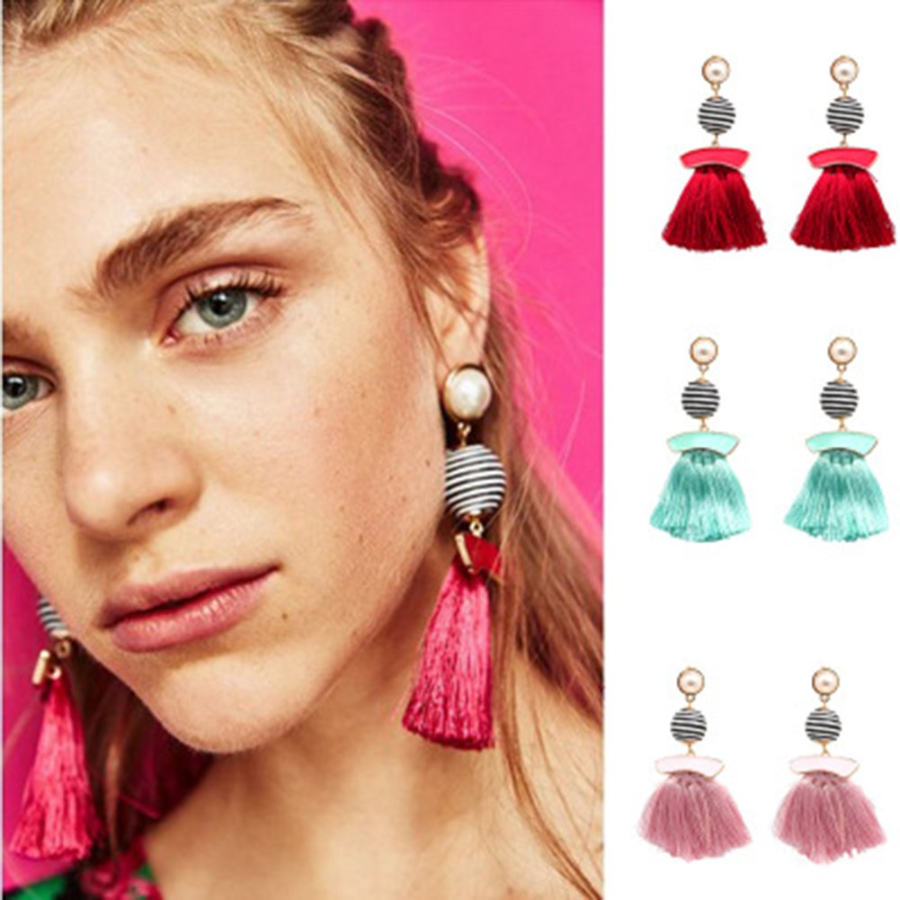 Demarkt Quasten Ohrringe H/ängend Lang Damen Ohrh/änger h/ängende Quasten Ohrringe Rosa