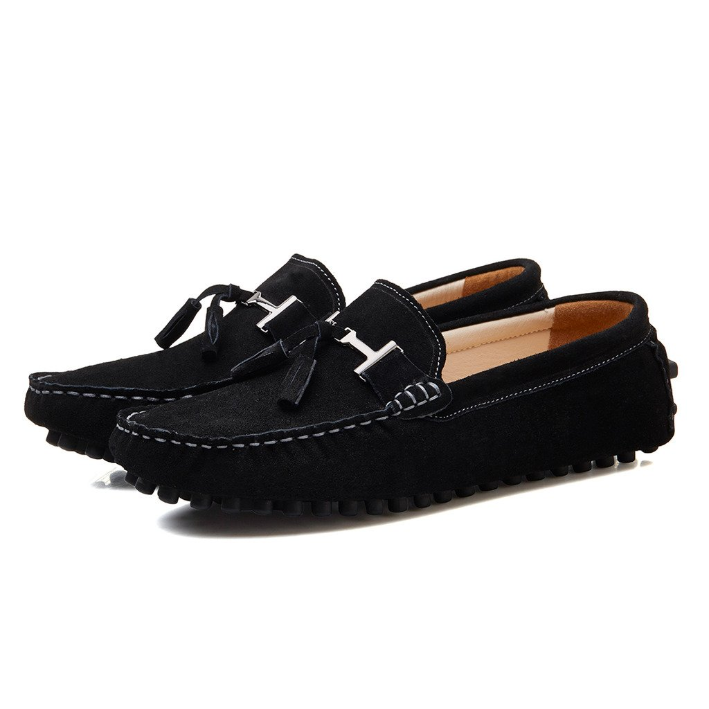 SUNROLAN 2026hei11 New Life Men's Casual Suede Leather Tassel Slip-On Loafers Outdoor Low Boat Shoes Driving Car Moccasins Black US 11 by SUNROLAN (Image #6)