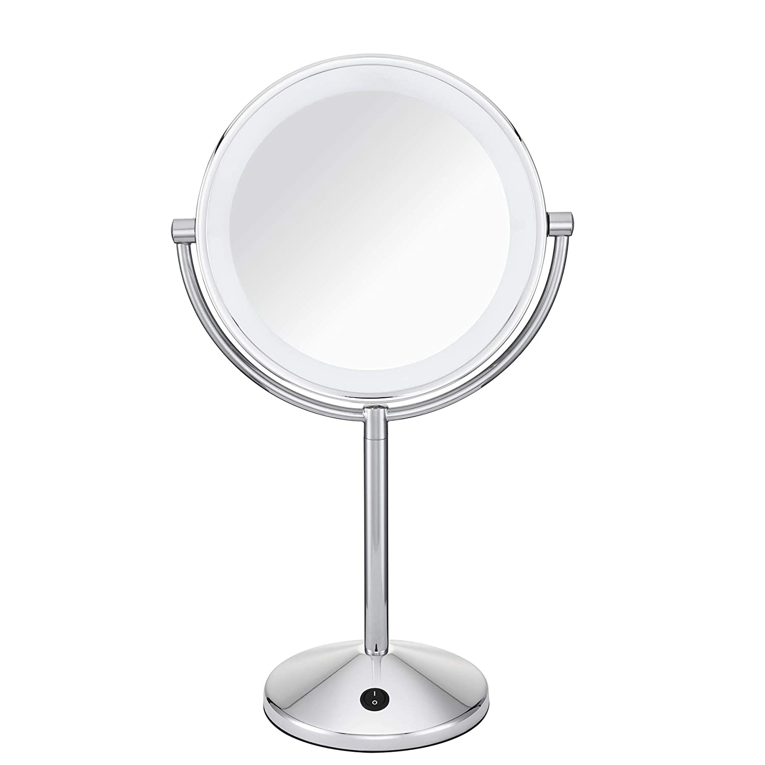 Conair Double-Sided Battery Operated Lighted Makeup Mirror - Lighted Vanity Makeup Mirror, LED Lighting, 1x / 10x Magnification, Polished Chrome Finish