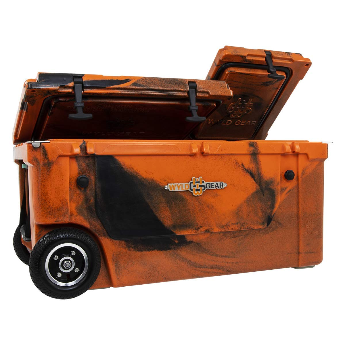WYLD 75 Quart Dual-Compartment Insulated Orange Black Cooler w Wheels Tap Kit Aerator Port Kit Rod Holder Available for Camping Fishing Boating Tailgating