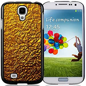 Beautiful Designed Antiskid Cover Case For Samsung Galaxy S4 I9500 i337 M919 i545 r970 l720 Phone Case With Gold Crumpled Wrapping Texture_Black Phone Case