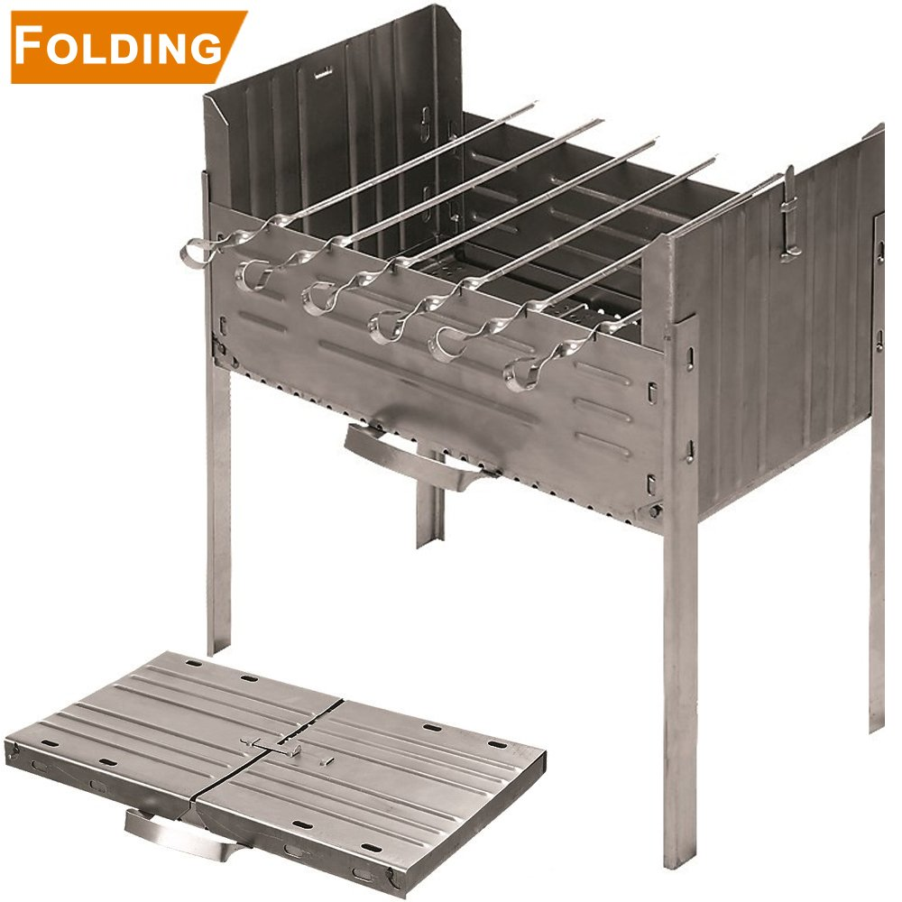 Books.And.More Folding Mangal Steel Charcoal Grill - Satay Grill, Portable BBQ Grill, Yakitori Grill, Kebab Grill, Shish Kebab, Shashlik, Spiedini on The Skewer