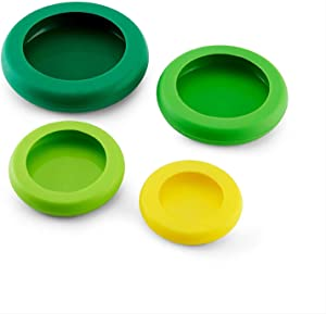 BXCFFG Silicone Stretch Lids, Reusable Durable Food Storage Covers for Bowls Cans Jars Fruits Vegetables Multifunctional Silicone Fresh Cover [4 Pack]