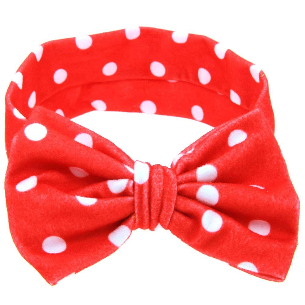 ❤️ Mealeaf ❤️ Baby Printing Bowknot Rabbit Ears Elastic Cloth Headband RD(Red,)