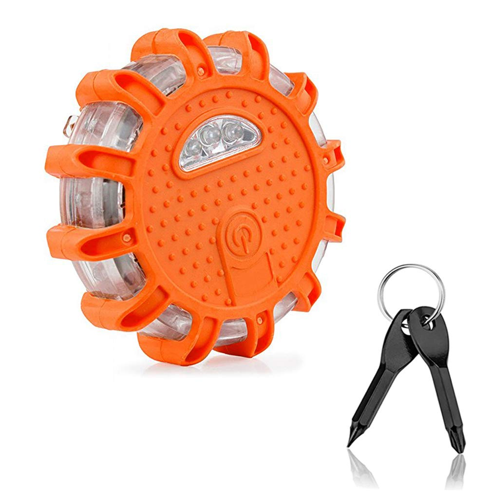 LED Road Flare Roadside Amber Safety Beacon Emergency Disc Strobe Warning Lights Waterproof with 9 kinds of Powerful Flashing Lights Magnetic Base for Car Truck Boat, with keychain screwdriver MiGaoMei