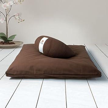 ZAFUKI Pack Zafu + Zabutón/Cojín para Yoga, Media Luna/zafu/Cojín de meditación/Estera meditación, colchoneta meditación y Yoga, Base para cojín de ...