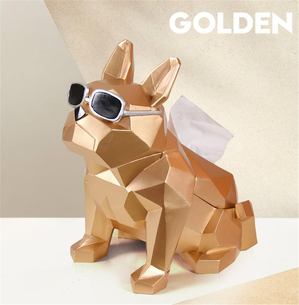 GFYWZ Tissue Box Cover,Resin Creativity Dog Modeling Desktop Napkin Case,Home Living Room Hotel KTV Paper Box,White
