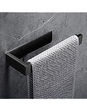 Lolypot Wieszak na ręczniki, wieszak na ręczniki, bez wiercenia, czarny, stal nierdzewna 304, samoprzylepny, akcesoria łazienkowe, do łazienki