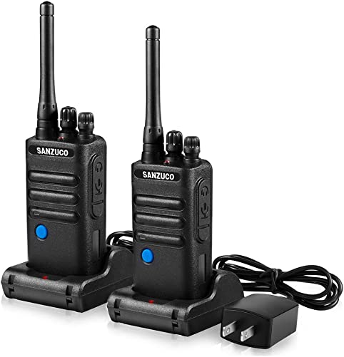 Two Way Radios Rechargeable with Group Talk Button, SANZUCO UHF Long Range 2 Way Radio, Handheld Walkie Talkies with earpiece and mic 2 Packs