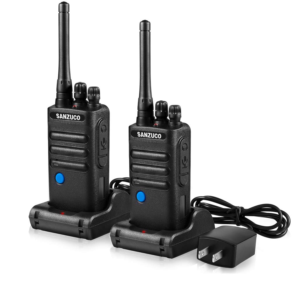 Two Way Radios, Sanzuco Business Two -Way Radio Rechargeable Hands Free 2 Way Radios with Group Talk Button 2 Pack