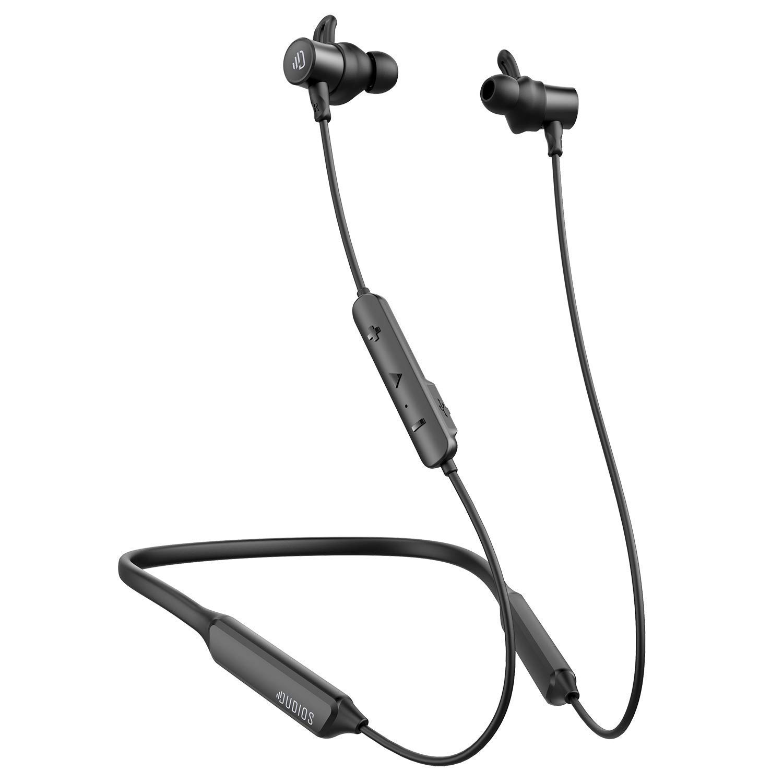 Dudios Bluetooth Headphones Neckband, apt-X Deep Bass Bluetooth Earbuds IPX7 Sweatproof Magnetic Wireless Earphones CVC6.0 Noise Cancellation, 16 hrs Playtime Black