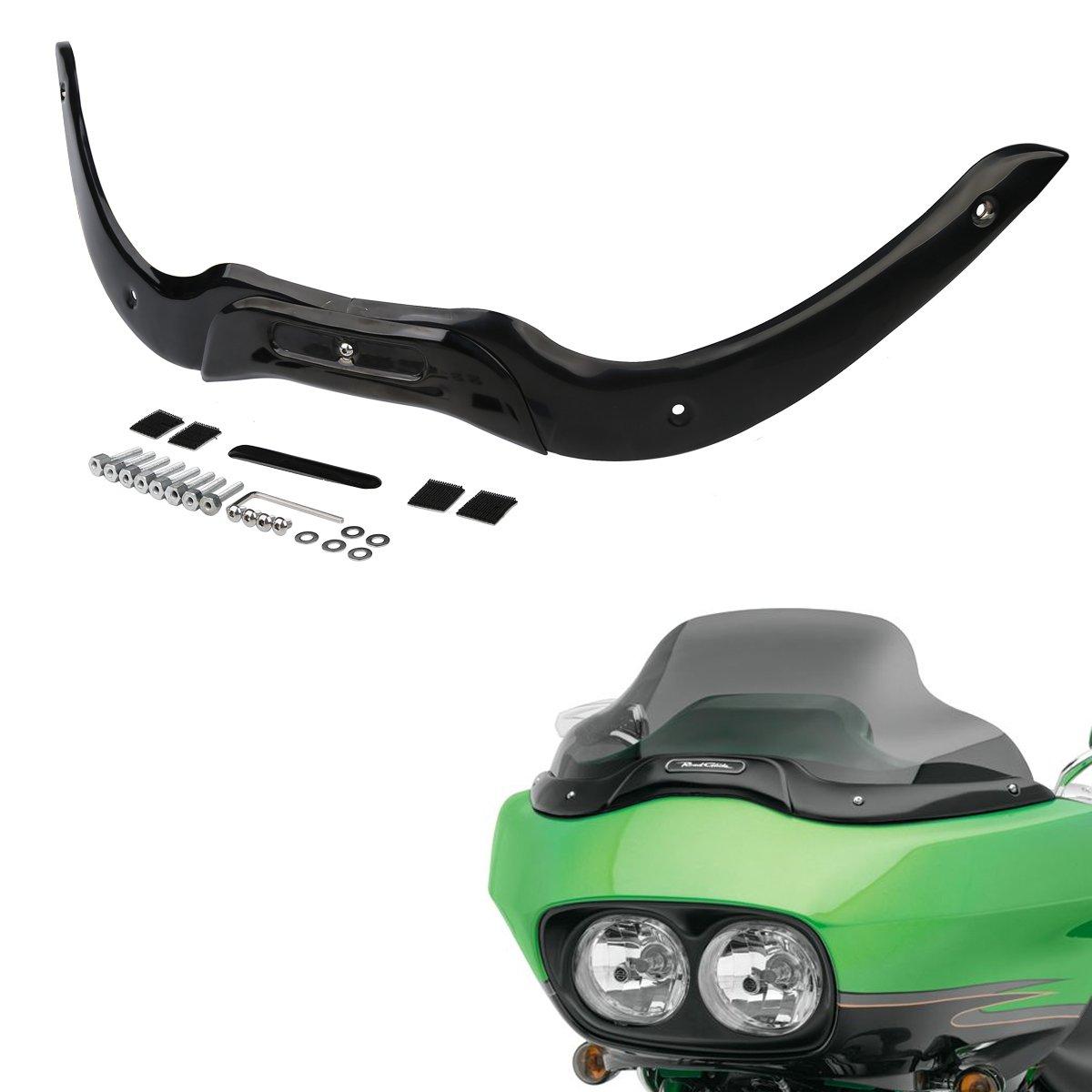 XMT-MOTO Black Iron Windshield Windscreen Trim For Harley-Davidson Touring Road Glide models 2004-2013