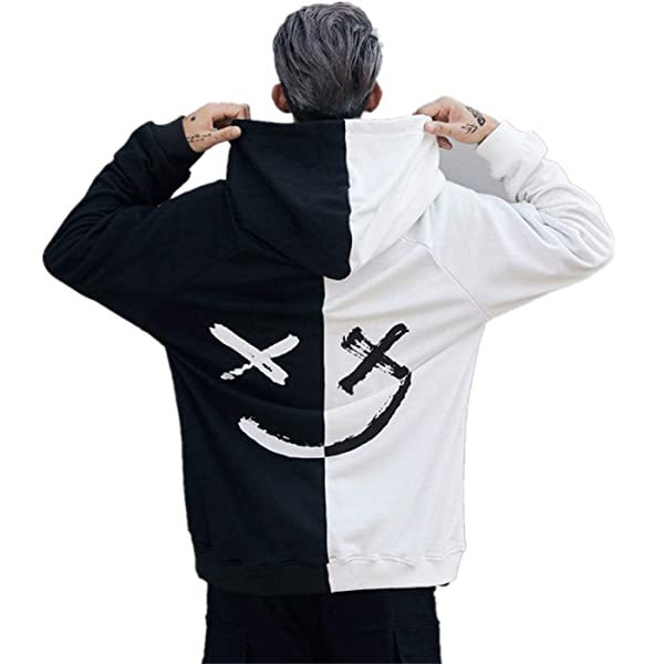 XXXXL, Yellow Clearance On Sale Litetao Men Pullover Hoodie Sweater Smile BE Happy Print Patchwork Hip Hop Christmas Costume