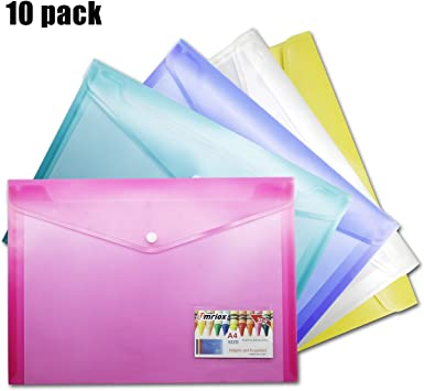 10 Pack Clear Document Folders US Letter Size A4 Plastic Wallets Poly Envelopes